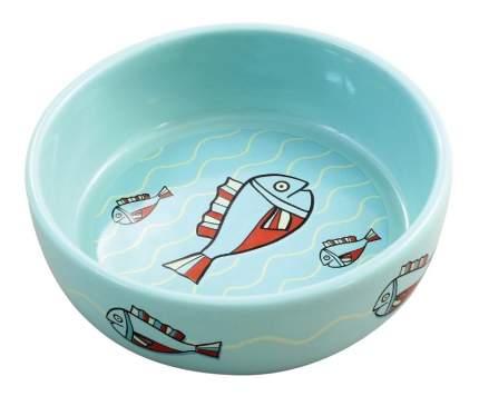 Одинарная миска для кошек Triol, керамика, голубой, 0.35 л