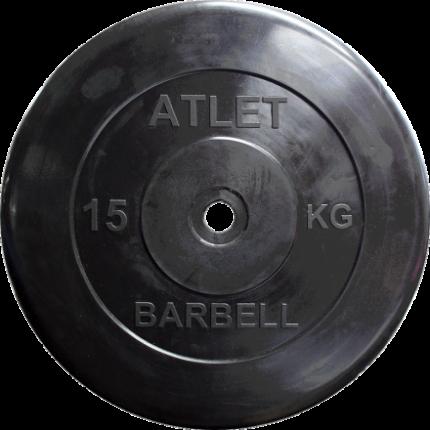 Блин обрезиненный MB Barbell Atlet 15 кг сталь 31 мм черный