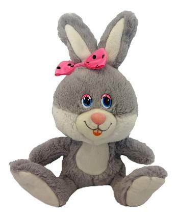 Мягкая игрушка Maxitoys заяц Милашка с розовым бантиком 21 см серый озвученная