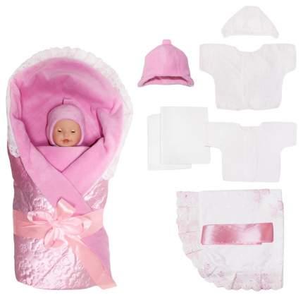 Комплект на выписку  Крошкин дом Крошка  белый розовый