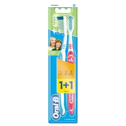 Зубная щетка Oral-B 3-Effect Натуральная Свежесть средняя 1+1 (цвет в ассортименте)