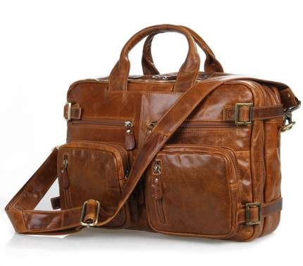 """Мужская сумка рюкзак из натуральной кожи """"Кошелькофф"""" светло-коричневая 7026LBN"""