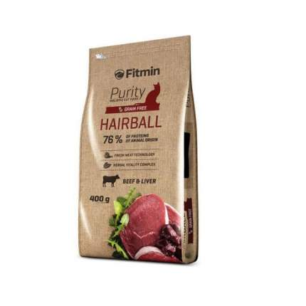 Сухой корм для кошек Fitmin Purity Hairball, для выведения шерсти, говядина, 0,4кг