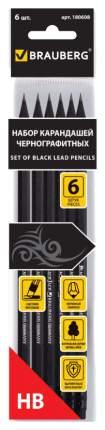Набор карандашей чернографитных BRAUBERG Black Jack 180608 Черный 6 шт