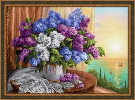 Картина стразами Алмазная Живопись «Сирень у окна» 70х50 см
