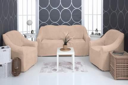 Комплект чехлов на трехместный диван и два кресла плюшевый Venera, бежевый
