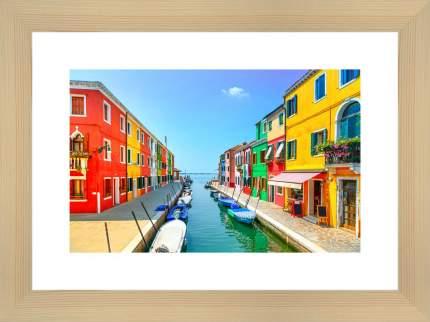 """Картина в багете 40х30 см """"Канал с лодками в Бурано"""" Ekoramka BE-103-217"""