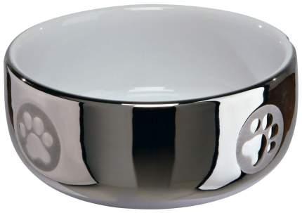 Одинарная миска для кошек и собак TRIXIE, керамика, белый, серебристый, 0.3 л