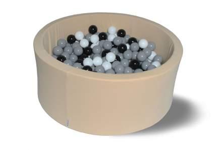 Сухой игровой бассейн Ретро бежевый 40см с 200 шарами: сер, бел, черн