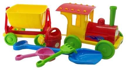 Машинка пластиковая Doloni Поезд с песочным набором красный 013222/03