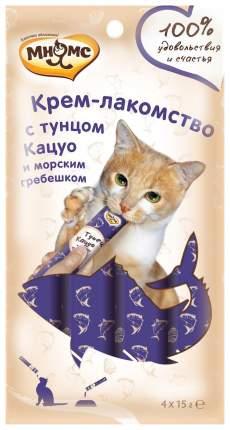 Лакомство для кошек Мнямс Крем-лакомство с тунцом Кацуо и морским гребешком 4 шт х 15 г
