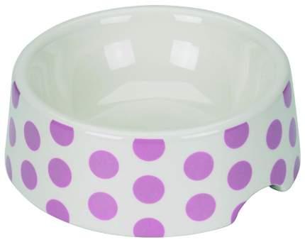 Одинарная миска для кошек и собак Chacco, керамика, белый, розовый, 0.125 л
