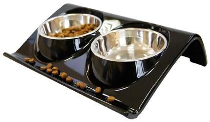 Двойная миска для кошек и собак Super Design, металл, пластик, черный, серебристый, 0.32 л