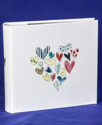 """Фотоальбом """"Сердца"""" на 100 фото 15х21 см, кармашки, подарочный кейс"""
