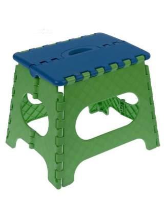 Табурет Трикап складной пластиковый средний, синий крышка, темно-зеленая основа