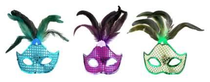 Новогодняя маска с перьями Snowmen Е91141 в ассортименте