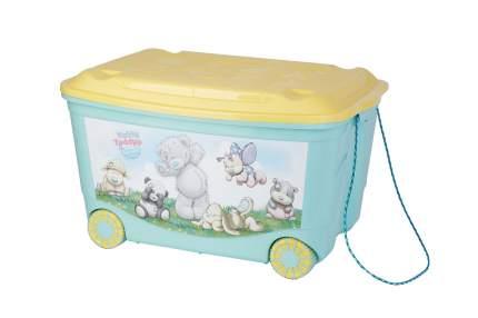 Ящик для хранения игрушек Me to You На колесах с аппликацией зеленый