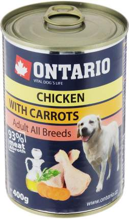 Консервы для собак Ontario, курица и морковь, 400г