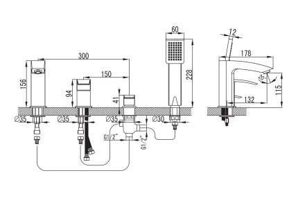 Смеситель для ванны на борт IDDIS Vane VANSB40I07 хром