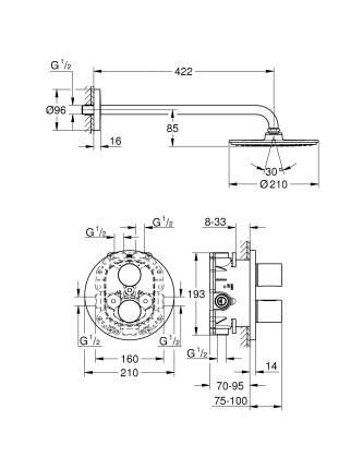 Смеситель для встраиваемой системы Grohe Grohtherm 3000 Cosmopolitan 26262000 серебристый