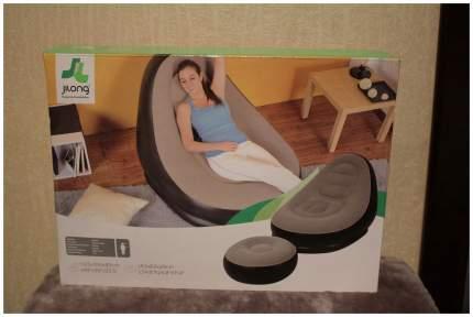 Надувное кресло с пуфиком Relax Deluxe Lounge 125х100х85/63х63х29 Бежевый/Черный