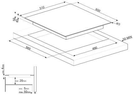 Встраиваемая варочная панель электрическая Smeg SE364TD Black