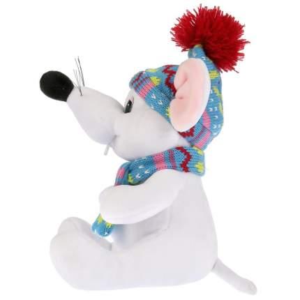 """Игрушка мягкая """"Мышка белая в шапке и шарфике"""", 15 см"""