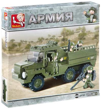 Конструктор пластиковый Sluban Военный грузовик 230 деталей Г79631
