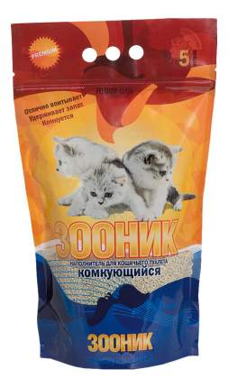 Наполнитель для кошачьего туалета Зооник, комкующийся, 5 л, 4,3 кг