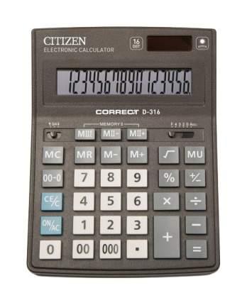 Калькулятор CiTiZEN Correct D-316 Черный