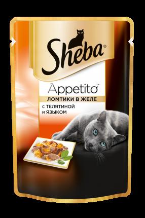 Влажный корм для кошек Sheba Appetito из телятины и языка, 85г