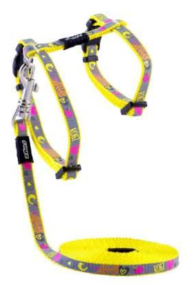 Комплект поводок и шлейка для кошек Rogz ReflectoCat XS-8мм 1,8 м (Желтый CLJ240H)