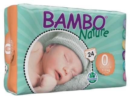 Подгузники для новорожденных Bambo Nature Premature 0 (1-3 кг), 24 шт.