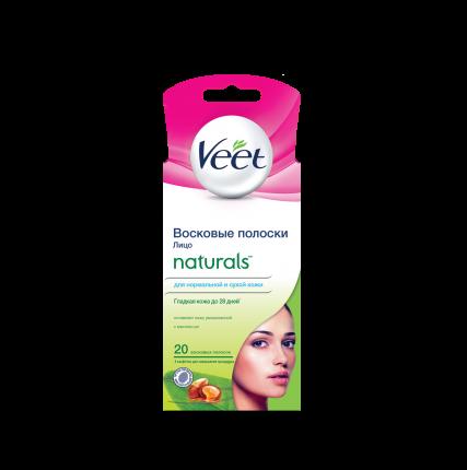 Восковые полоски VEET с маслом ши для чувствительных участков тела (лицо) 20 шт