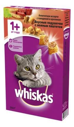 Сухой корм для кошек Whiskas, подушечки с паштетом ассорти с курицей, индейкой,11шт,350г