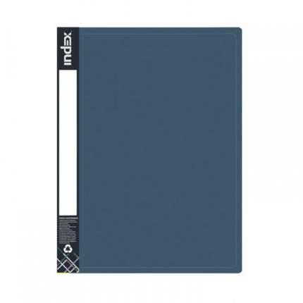 Папка на 2 кольцах Index Metallic, форзац, A4, Темно-синяя, 0.75 мм, 2см