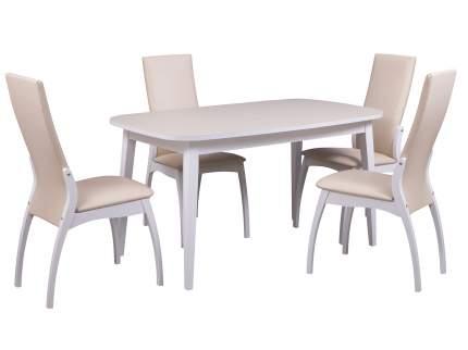 Обеденная группа для столовой и гостиной Mebwill Стол Турин + 4 стула Токио белый