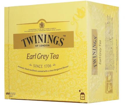 Чай черный Twinings эрл грэй байховый с ароматом бергамота пакетированный 50 пакетиков