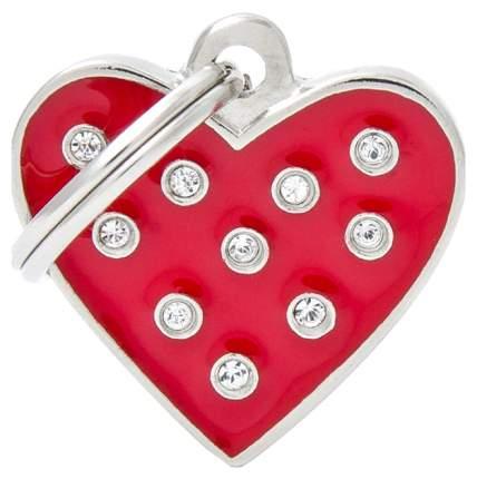 Адресник для кошек и собак My Family Chic со стразами в форме сердца (2 х 2 см, Красный)