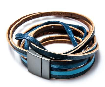 Браслет Moon Paris многослойный из кожи с бусинами (голубой)