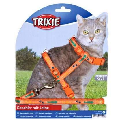 Шлейка Trixie для кошек с поводком нейлоновая с рисунком 22-36 см/10 мм 1,20 м