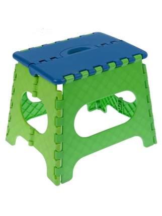 Табурет Трикап складной пластиковый средний, синяя крышка, зеленая/салатовая основа