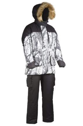 Костюм для рыбалки женский Huntsman Карелия, белый лес/ветки/черный, 48-50 RU, 170-176 см