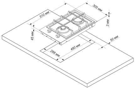 Встраиваемая варочная панель газовая Electronicsdeluxe TG2 400215F-003 White