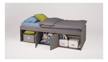 Кровать Polini Simple 3000 с нишами, серый