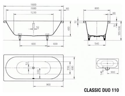 Стальная ванна KALDEWEI Classic Duo 110 Easy-clean 180х80 без гидромассажа