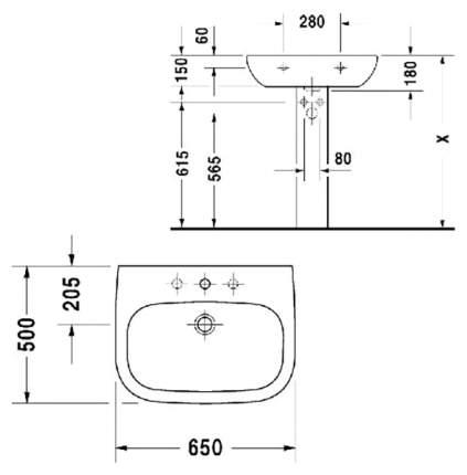 Раковина подвесная Duravit D-Code 23106500002