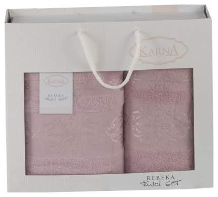 Комплект полотенец Karna Rebeka Грязно-Розовый, 50х90 см +70х140 см