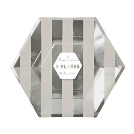 Тарелки Meri Meri в серебряную полоску большие
