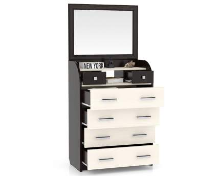 Комод с зеркалом Мебельный Двор К-6 80х43х170 см, венге/дуб